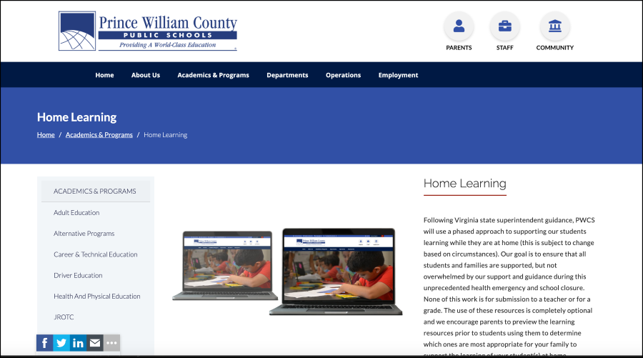 This is a screenshot of the PWCS Home Learning Webpage